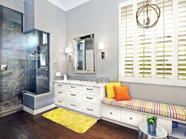 mellow yellow bathroom remodel