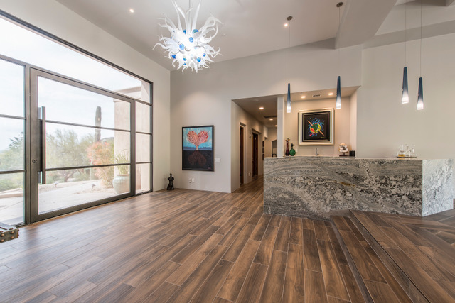 Contemporary Living Room and Wet Bar